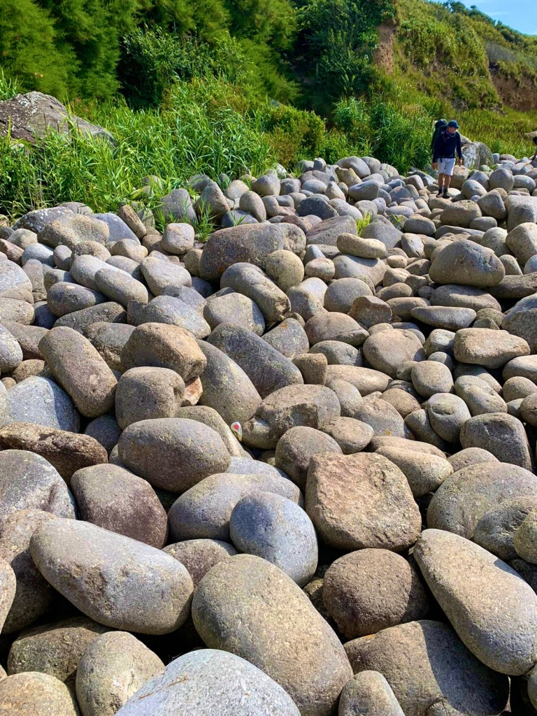 A picture of my rambling along the top of the large round boulders at St Loy