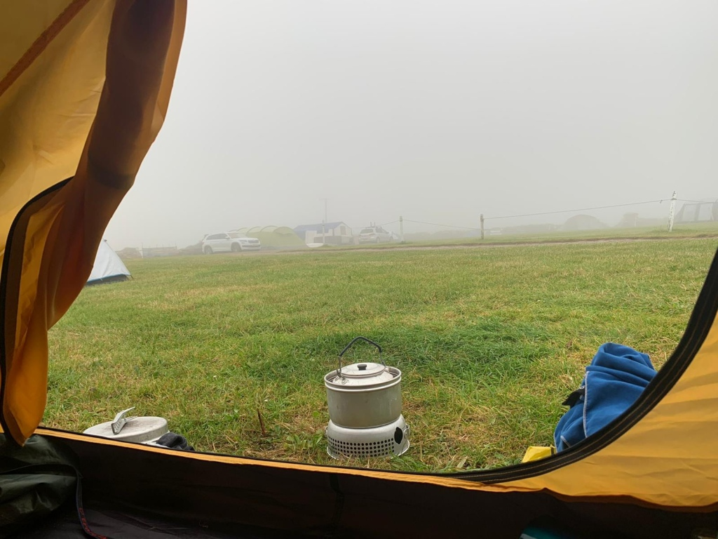A picture from inside our tents looking out into grey mist