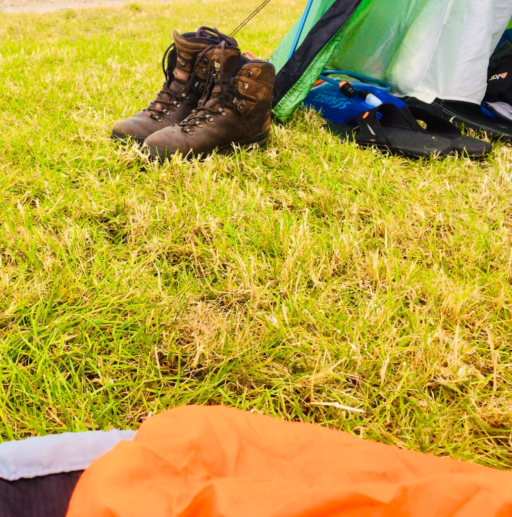 My boots layer outside my tent. The smell would worn off anyone or anything